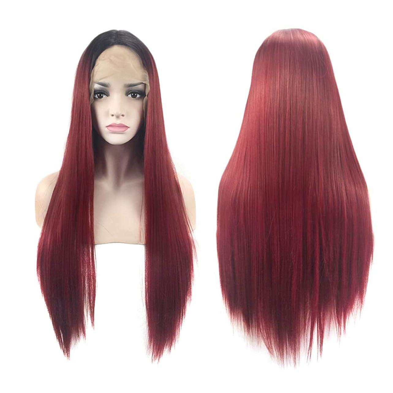 女性ファッションロングストレートヘアウィッグフロントレースヘアーかつら自然な絶妙な弾性ネットウィッグカバー(クラレット)