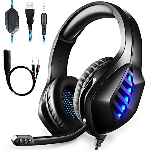 PS4 Gaming Headset,Headset for PC Xbox One PS4 PS Vita, Noise Isolation Headphones with Microphone/LED Light/Bass Surround/Soft Memory Earmuffs by Hangfa