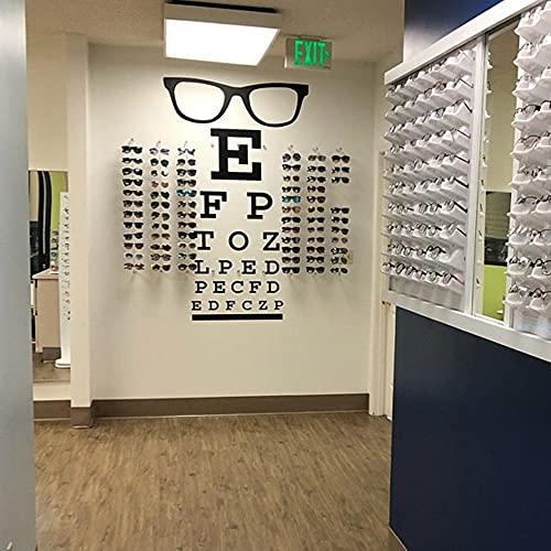 Gafas grandes Eye Chart Etiqueta de la pared de la ventana óptica Eye Doctor Optometry Gafas Hipster Especificaciones Marcos Etiqueta de la pared de vidrio Vinilo