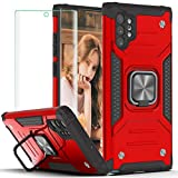 Galaxy Note 10 Plus 5G Case with 3D Curved Screen Protector,YmhxcY Armor Grade Case with Rotating Holder Kickstand Non-Slip Hybrid Rugged Phone Case for Samsung Galaxy Note 10 Plus-KK Red