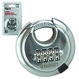 Target Locks® Candado de combinación de 4 dígitos, 65 mm, multiusos, resistente, de alta seguridad, construcción de acero inoxidable endurecido, combinación de 4 dígitos