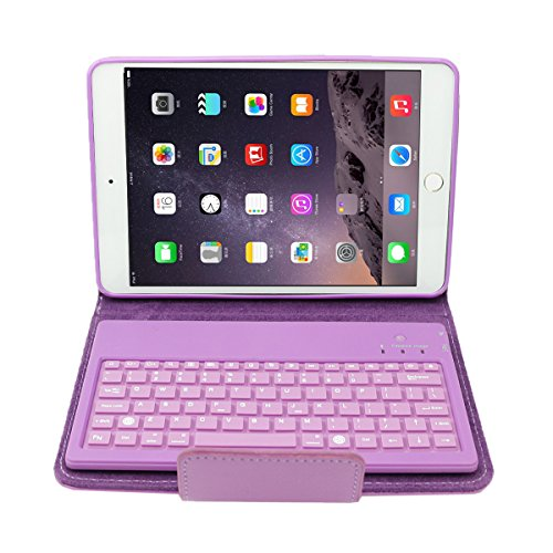 dizauL Leather Case Cover Stand with Wireless Bluetooth Removable Silicone Keyboard for IPAD mini series, Purple