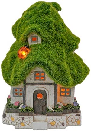 TERESA S COLLECTIONS Flocked Fairy Garden House Statue Outdoor Fairy House Figurine with Solar product image