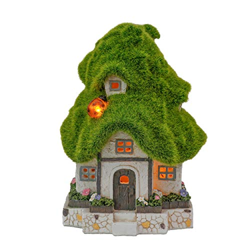 TERESA'S COLLECTIONS Flocked Fairy Garden House Statue and Figurine with Solar Lights, Resin Outdoor...