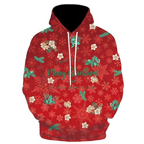 DNOQN Herren 3D Christmas Drucken Langarm O-Ausschnitt Kapuzen Sweatshirt Bluse Tops Rot S