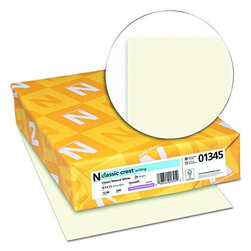 Neenah Paper 01345 Classic Crest Premium Paper, 24 lb, 8.5 x 11 Inches, White, 500 Sheets per Ream, Classic Natural White Photo #2