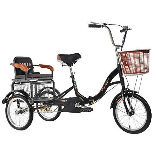 ZFF Tricicli per Adulti 16 Pollici velocità Singola Bicicletta A 3 Ruote Trike Cruise Pedale con Carrello della Spesa E Sedile Posteriore per Gli Anziani (Color : Beige)