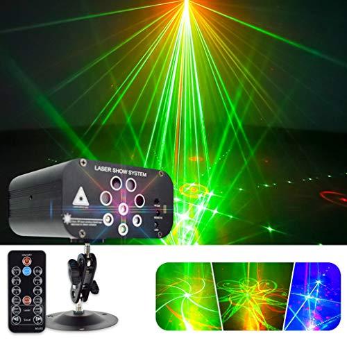 LED Licht, 8-Loch 128 Pattern Bühne Lichter DJ-Lichtprojektor Mini Auto-Blitz-Ton aktivierte mit Fernbedienung for Tanzen Thanksgiving-KTV Bar Geburtstag