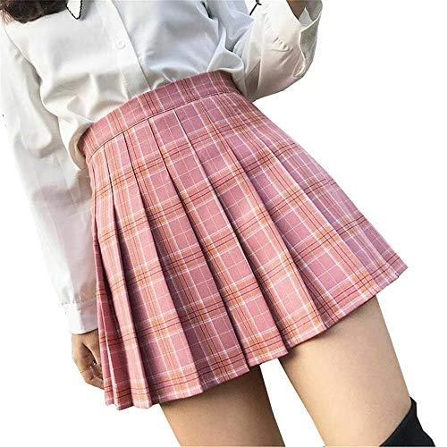 Mcaishen Falda De Verano Cintura Alta Falda De Una Línea Falda Plisada Coreana del Coreano del Viento De La Universidad Coreana Falda Plisada Linda Dulce Linda De La Manera.(S,Pink)