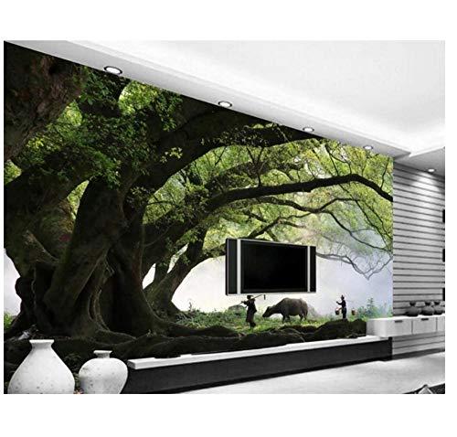 CZYSKY Wandmalereien Wallpaper 3D, Tausende Von Jahren Alte Bäume, Alte Leute Setzen Viehfototapete Schlafzimmer Kinderzimmer Wohnzimmer Fototapeten Motivtapete, 500x280cm