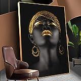 Pinturas de mujer africana negra sobre lienzo, retrato de maquillaje dorado, carteles e impresiones, cuadros de pared escandinavos, decoración del hogar, 60X90cm, sin marco