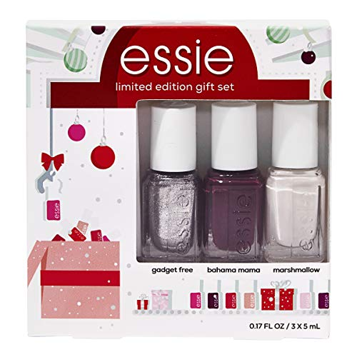 essie Limited Edition Holiday 3 Piece Mini Kit, featuring Bahama Mama, Marshmallow, Gadget free