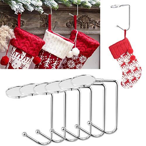 Yotako 6Pezzi Gancio Ganci da mensola Supporti per Calze di Natale Calza di Natale Clip Antiscivolo di Sicurezza, per Festa di Natale Decorazioni e Appeso Borse