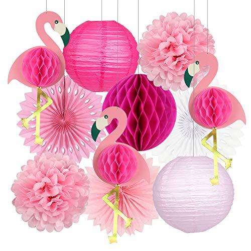 Tropische Party-Dekorationen Pink Flamingo Wabenblätter Seidenpapier Fächer Blumen Ballon Party für Sommer Strand Hawaii Partyzubehör Rosa Flamingo Party