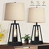 Set of 2 Farmhouse Touch Table Lamps with USB Ports, 3-Way Dimmable Bedside Nightstand Lamp, 2 Light Rustic Industrial Table Lamps for Living Room Bedrooms Reading Room, Rotary Switch, Bulbs Included