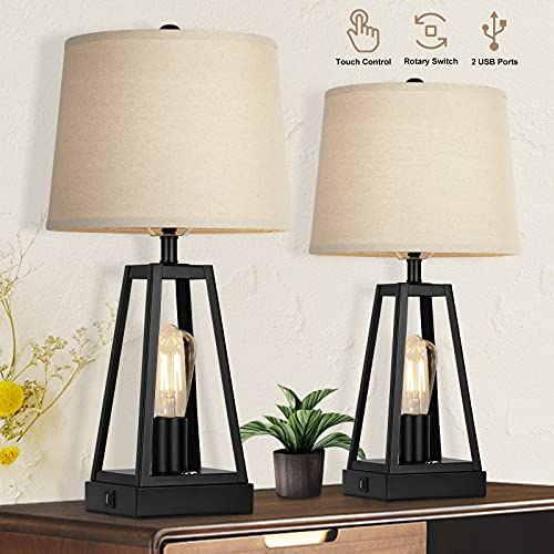 Set of 2 Farmhouse Touch Table Lamps with USB Ports, 3-Way Dimmable Bedside Nightstand Lamp, 2 Light...
