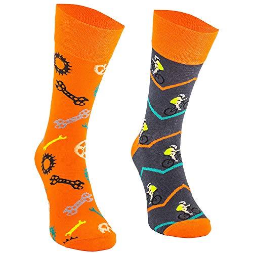 Comodo - lustige Socken für Männer und Frauen aus Baumwolle Freizeitsocken mit witzigem Motiv Bunte Motivsocken für Kinder und Erwachsene Verschiedene farbige Kniestrümpfe SM1 gr 35-38 3 Paar Radfahren