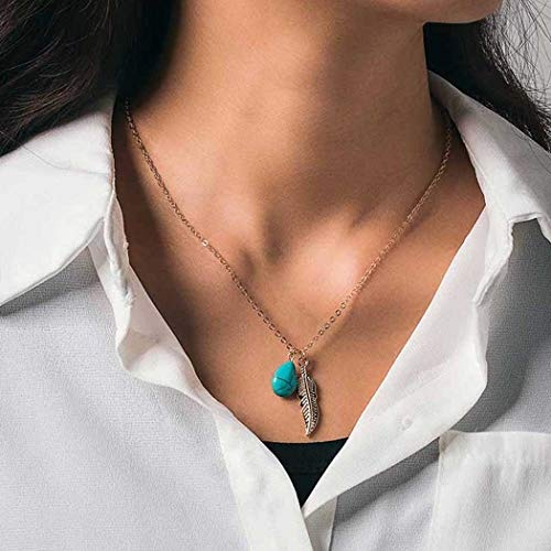 Brinote Boho Necklace Chain Gold Feather and Turquoise Pendant Necklaces Jewelry for Women and Girls