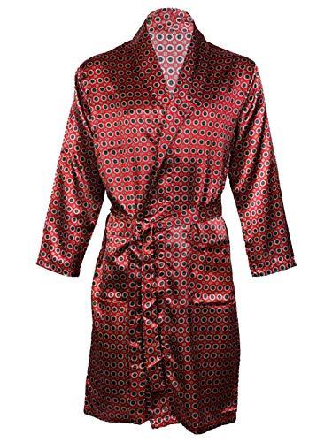 Hombres de satén Albornoz Kimono Túnica, satén Conjuntos de Pijama camisón Transparente Rojo Maroon Gown XX-Large