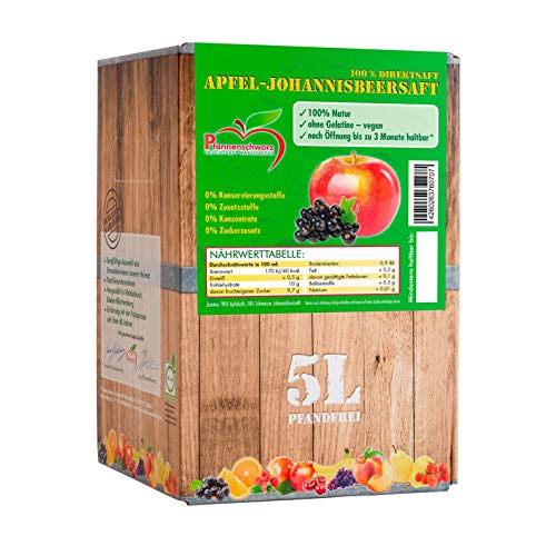 Pfannenschwarz Apfel-Johannisbeersaft (schwarz) 100% Direktsaft, 2er Pack (2x5 l Bag in Box)