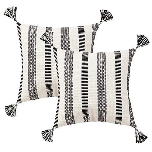 Juego de 2 Fundas de Almohada Decorativas de algodón con borlas, diseño Simple, 30 x 50 cm, Color Negro y Blanco