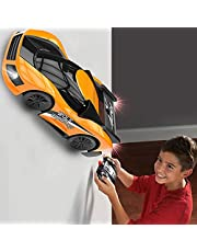 Remote Control Car Toys for Kids, Wall Climbing Rc Cars with Dual Mode 360°Rotating Stunt Rechargeable High Speed Vehicle with Led Light for Boys Girls (Orange)