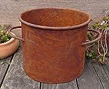terracotta-toepfe-de Deko Topf ca. 20 cm hoch bepflanzbar aus Metall Edelrost Rost Garten Pflanzgefäß Blumentopf Landhaus Shabby chic Vintage Pflanzgefäß