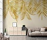 Fototapete 3D Tapete Golden Leaf Hintergrund Mauer 3D Effekt Vliestapete Wandbilder Wanddeko