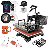 Heat Press Machines for Shirts, 12x15 Inch Dual-Display of Time and Temperature Digital Heat Press Transfer 5-in-1 Combo Machine with T-Shirts Press, Mug Press, Hat/Cap Press and Plate Press