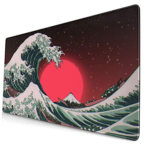 Franhais Ocean Gaming Mousepad Japanese The Great Wave Off Kanagawa Pattern Mouse Pad Computer Game Mouse Mat 29.5x15.8 Inch (Style 6)