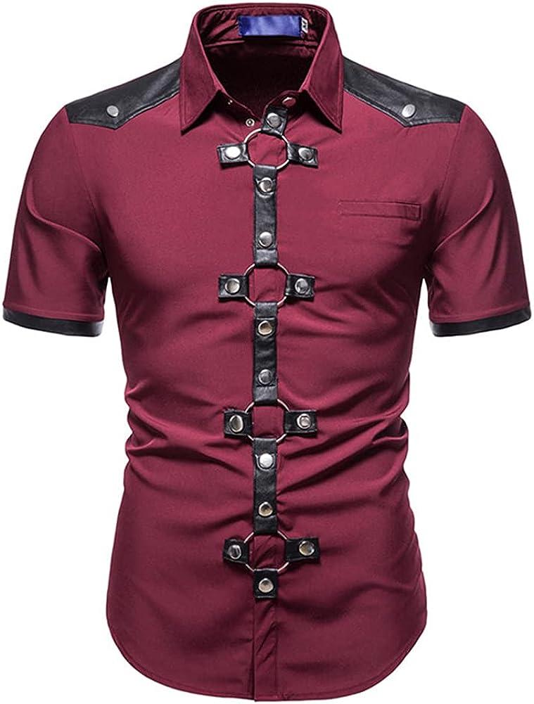 AOWOFS Men's Fashion Casual Short Sleeve Shirt Regular Fit Button Down Shirts