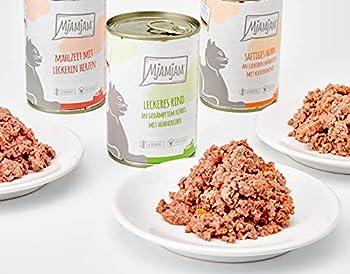 MjAMjAM - Nourriture humide premium pour chats - Mélange paquet 1 - Poulet, bœuf, coeurs, pack de 6 (6 x 400 g), sans céréales avec viande supplémentaire