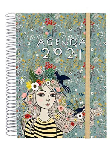 Finocam - Agenda 2021 1 Día página Espiral Design Collection Lady Catalán - 175 x 212 mm