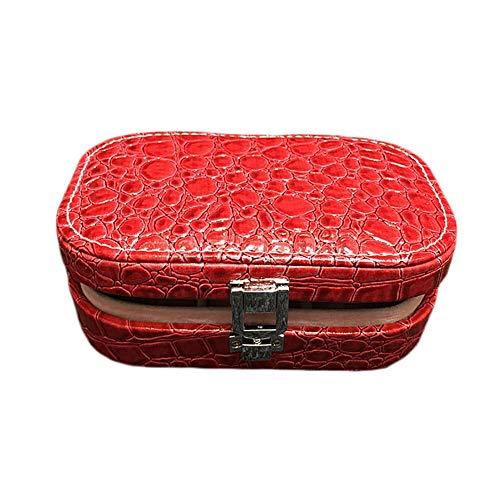 Parshall Joyero organizador de piel sintética para joyas, portátil, con patrón de piedras, caja de almacenamiento con espejo para pendientes, anillos, pulsera y reloj, 15 x 10 x 5 cm, color rojo