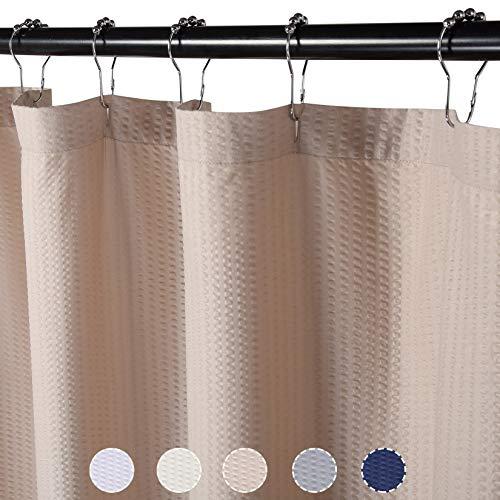 LinTimes Luxus Duschvorhang ,Weicher Badewannenvorhang mit Waffelmuster,Leicht zu pflegener & Waschmaschinenfester Badvorhang 182x213cm,Taupe