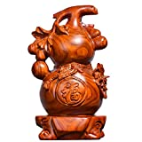 像ウールーひょうたん風水 中国の幸運ウールー/フールーひょうたん/富のためのウリ科の彫刻平和な銅の収集可能なフィギュアチャームのお守り 木