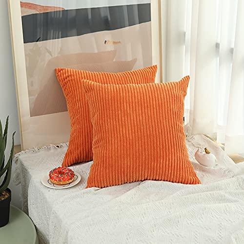 NMG Kissenbezüge Set,Kissenbezüge Couch Schlafzimmer Auto,Couch Kissenbezüge Set Boho Outdoor Pu-Leder Vintage Bauernhaus Einfarbig-Orange 40x40cm