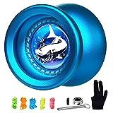 MAGICYOYO Responsive Yoyo T9 Shark-Blue, Professional Yoyo Metal Alloy Yo Yo for Kids Beginner + Replacement Unresponsive Yoyo Bearing + Removal Bearing Tool + Glove + 5 Yoyo Strings