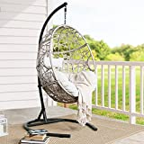 Patio Tree Outdoor Wicker Hanging Swing Chair Patio Hammock Basket Egg Chair with Stand and Cushion for Indoor Outdoor Use