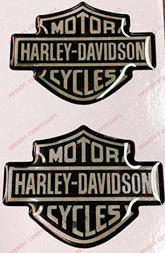 Stemma logo decal HARLEY DAVIDSON, coppia adesivi resinati, effetto 3D. Per SERBATOIO o CASCO. Nero-Cromo