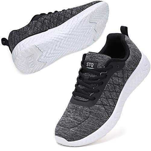 STQ Walking Shoes for Women Breathable Athletic Sneakers for Outdoor Travel Dark Grey/White 9