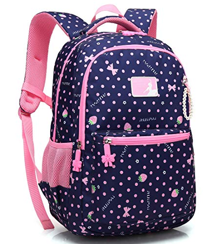 Kid Girl School Backpack Water Resistant Elementary Dot Bookbag with Chest Strap (RoyalBlue) Florida