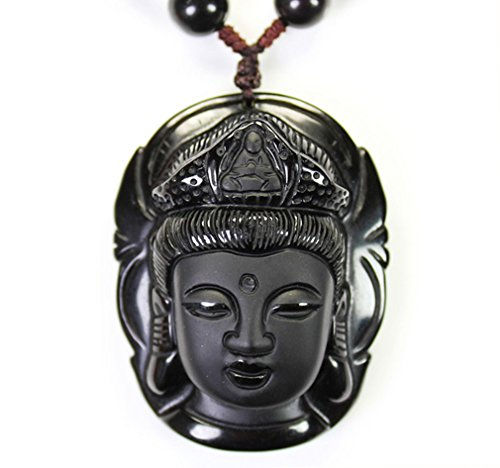 c1lint7785631 Men or Women Handmade natural Obsidian Buddha head Goddess of Mercy Pendant necklace Men or Women