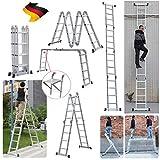 Alu Mehrzweckleitern 4.7M Gerüst Leiter mit Pattform Multigerüst Leiter 4x4 Sprossen, bis 150 kg belastbar, Klappleiter Stehleiter Multifunktionsleiter