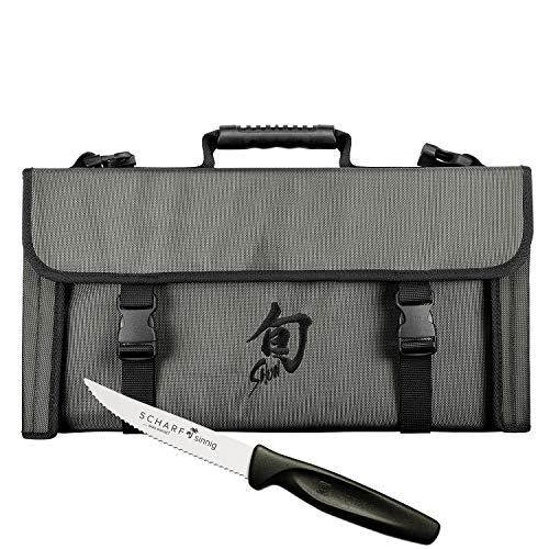 Kai Messertasche für 17 Messer Shun DM-0780 New Design plus SCHARFsinnig Pizza- und Steakmesser ultra-sägescharf