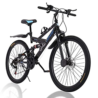 2021 New 26 Inch Adult Mountain Bikes Carbon Steel 21 Speed Bicycle Full Suspension MTB, Bikes for Men and Women(Stock in US)