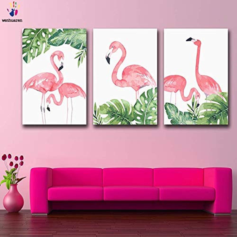hasta un 60% de descuento KYKDY Dibujos para Colorar DIY por números con Colors Colors Colors Imagen de Flamingo dibujo de pintura por números enmarcados Decoración para el hogar tres piezas, 3925 3926 3927,60x75 sin marco  mejor moda