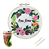 Embroidery Kit, Nuberlic Funny Cross Stitch Kits for Adults Stamped Needlepoint with Embroidery Hoop Cloth Needles Threads