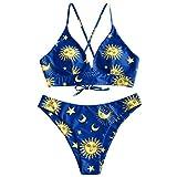 ZAFUL Bikini Set da Donna Imbottito Costume da Bagno Spalline Sottili Stringato con Lacci Luna e Stella Swimwear (L, Multi-E)