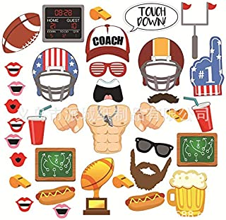 Astra Gourmet Football Photo Booth Props - Super Bowl Party Supplies Decoration Photography Props Kits Accessories Frenzy Sport Game Day Themed Birthday Party Favors (36 Pcs)
